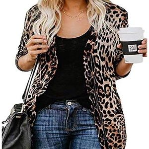 Leopard Printed Button Down Cardigans